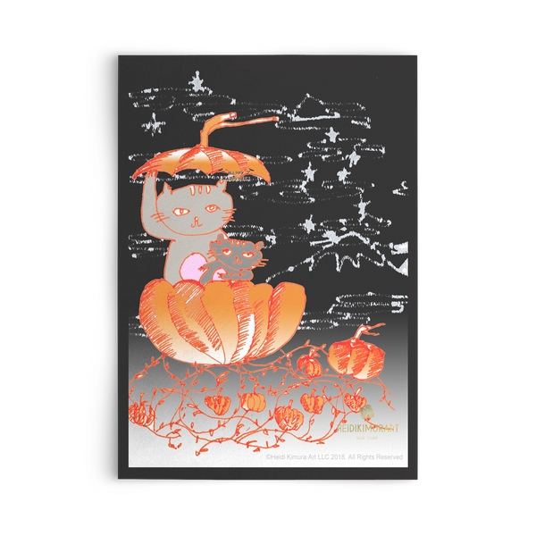Pumpkin Kittens For Fall, Flat Greeting Post Cards, Made in USA, Sets of 10pcs, 30pcs, 50pcs-Cards-10pc-Heidi Kimura Art LLC