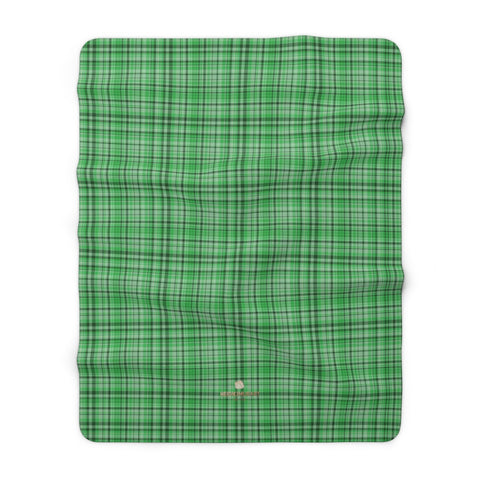 "Green Plaid Tartan Print Designer Cozy Sherpa Fleece Blanket-Made in USA-Blanket-60"" x 80""-Heidi Kimura Art LLC"