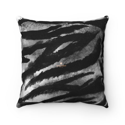 "Gray Tiger Stripe Print Pillow, Animal Print Square Pillow 14""/16""/18""/20""- Made in USA/EU-Pillow-14x14-Heidi Kimura Art LLC"