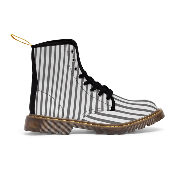 Grey Striped Print Men's Boots, White Stripes Best Hiking Winter Boots Laced Up Shoes For Men-Shoes-Printify-Heidi Kimura Art LLC