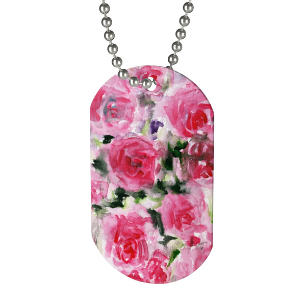 pink rose floral print dog tag cute puppy accessories - made in usa