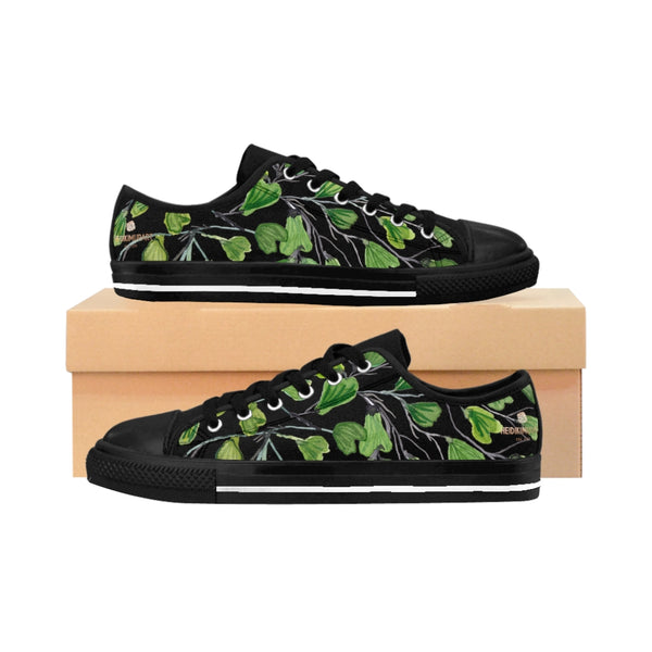 Black Green Maidenhair Men's Sneakers, Best Tropical Leaf Print Men's Low Top Tennis Shoes-Shoes-Printify-Heidi Kimura Art LLC Black Green Maidenhair Men's Sneakers, Best Tropical Leaf Print Premium Men's Nylon Canvas Tennis Fashion Sneakers Shoes (US Size: 7-14)