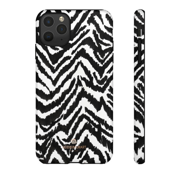 White Tiger Stripe Phone Case, Animal Print Best Tough Designer Phone Case -Made in USA-Phone Case-Printify-iPhone 11 Pro Max-Glossy-Heidi Kimura Art LLC