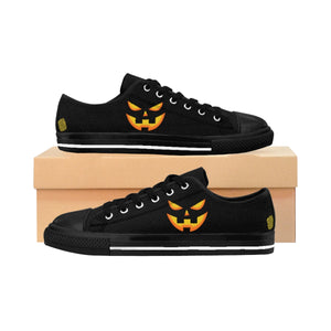 Halloween Creepy Orange Pumpkin Face Premium Women's Casual Fashion Sneakers-Women's Low Top Sneakers-US 6-Black-Heidi Kimura Art LLC