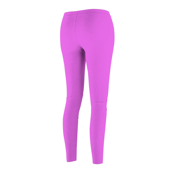 Hot Pink Women's Casual Leggings, Solid Color Print Premium Running Tights-Made in USA-Casual Leggings-Heidi Kimura Art LLC