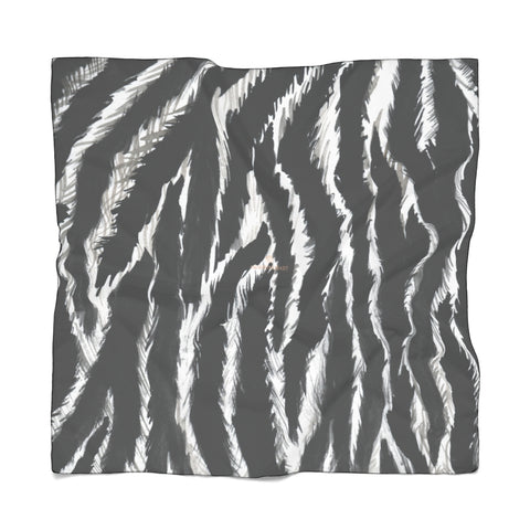 "Zebra Stripe Poly Scarf, Animal Print Designer Lightweight Polyester Scarves - Made in USA-Accessories-Printify-Poly Voile-25 x 25 in-Heidi Kimura Art LLC Zebra Stripe Poly Scarf, Animal Print Lightweight Delicate Sheer Poly Voile or Poly Chiffon 25""x25"" or 50""x50"" Luxury Designer Fashion Accessories- Made in USA, Fashion Sheer Soft Light Polyester Square Scarf"