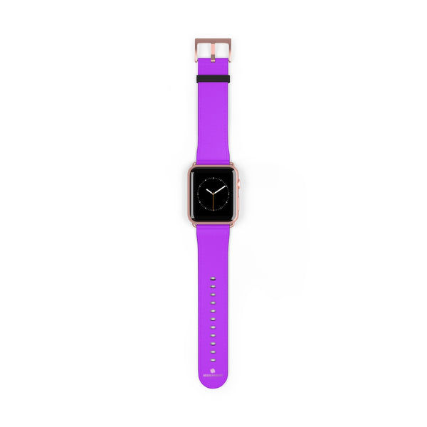 Purple Solid Color Print 38mm/42mm Watch Band For Apple Watches- Made in USA-Watch Band-42 mm-Rose Gold Matte-Heidi Kimura Art LLC