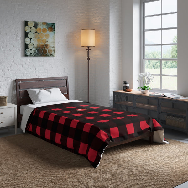 Red Buffalo Plaid Print Best Comforter For King/Queen/Full/Twin Bed - Made in USA-Comforter-Heidi Kimura Art LLC