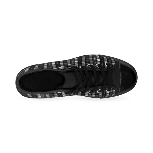 Black White Plaid Tartan Print Men's High-top Sneakers Tennis Shoes, Mens Plaid Shoes-Men's High Top Sneakers-Heidi Kimura Art LLC