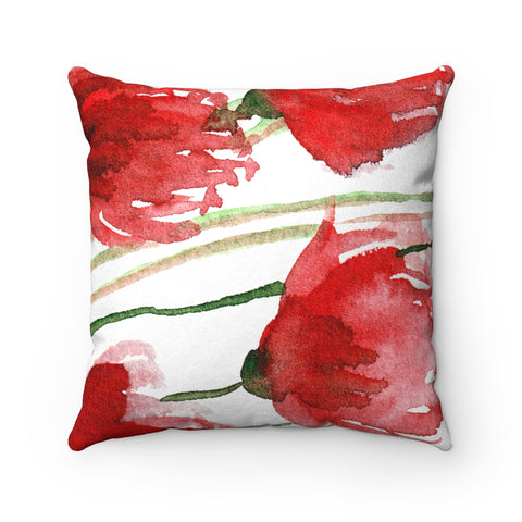 Red Poppy Flower Spring Floral Luxury Faux Suede Square Pillow - Made in USA-Pillow-14x14-Heidi Kimura Art LLC