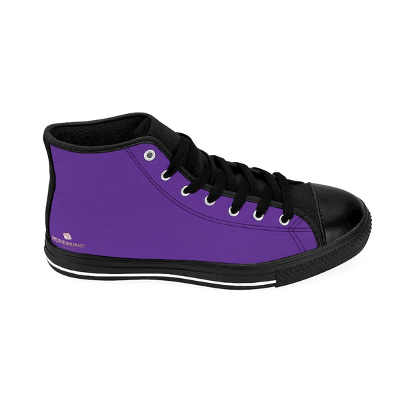 Dark Purple Men's Sneakers, Royal Purple Solid Color Print Designer Men's Shoes, Men's High Top Sneakers US Size 6-14, Mens High Top Casual Shoes, Unique Fashion Tennis Shoes, Solid Color Sneakers, Mens Modern Footwear (US Size: 6-14)