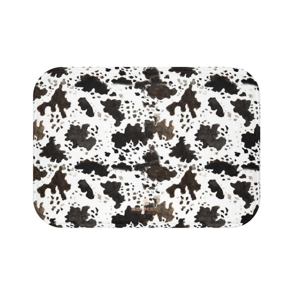 Cow Print White Brown Black Designer 100% Microfiber Anti-Slip Backing Bath Mat-Bath Mat-Small 24x17-Heidi Kimura Art LLC