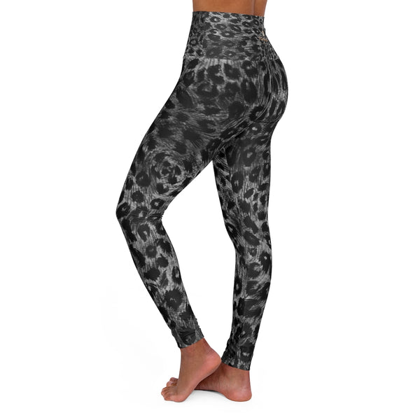 Grey Leopard Women's Leggings, Premium Animal Print High Waisted Yoga Pants-Made in USA-All Over Prints-Printify-Heidi Kimura Art LLC