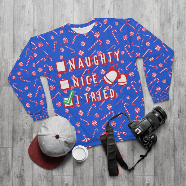 Funny Blue Red Candy Cane Christmas Holiday Crewneck Unisex Sweatshirt -Made in USA-Unisex Sweatshirt-Heidi Kimura Art LLC