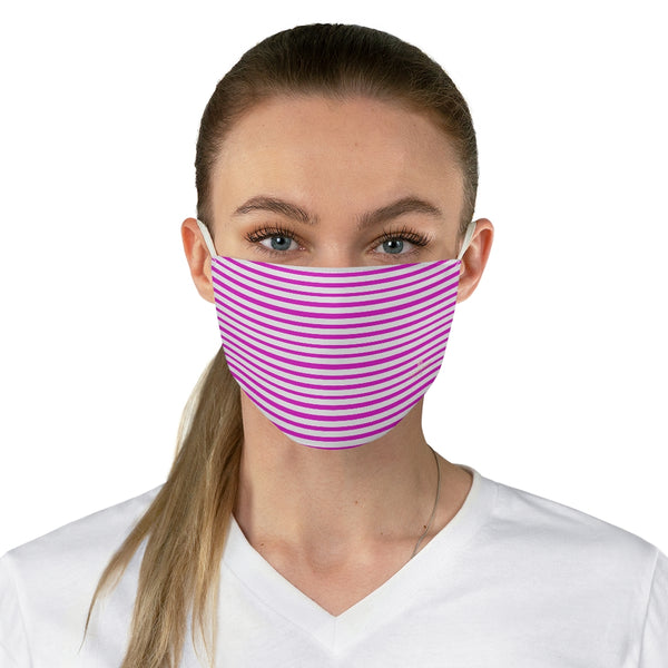 "Pink Horizontally Striped Face Mask, Best Designer Horizontally Stripes Fashion Face Mask For Men/ Women, Designer Premium Quality Modern Polyester Fashion 7.25"" x 4.63"" Fabric Non-Medical Reusable Washable Chic One-Size Face Mask With 2 Layers For Adults With Elastic Loops-Made in USA"