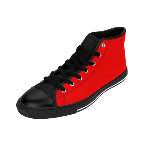 Hot Red Lady Solid Color Women's High Top Sneakers Running Shoes (US Size: 6-12)-Women's High Top Sneakers-Heidi Kimura Art LLCRed Women's Sneakers, Hot Red Lady Solid Color Women's High Top Sneakers Running Shoes (US Size: 6-12)
