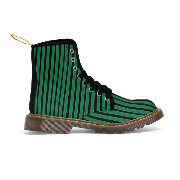 Green Striped Print Men's Boots, Black Stripes Best Hiking Winter Boots Laced Up Designer Shoes For Men-Shoes-Printify-Heidi Kimura Art LLC