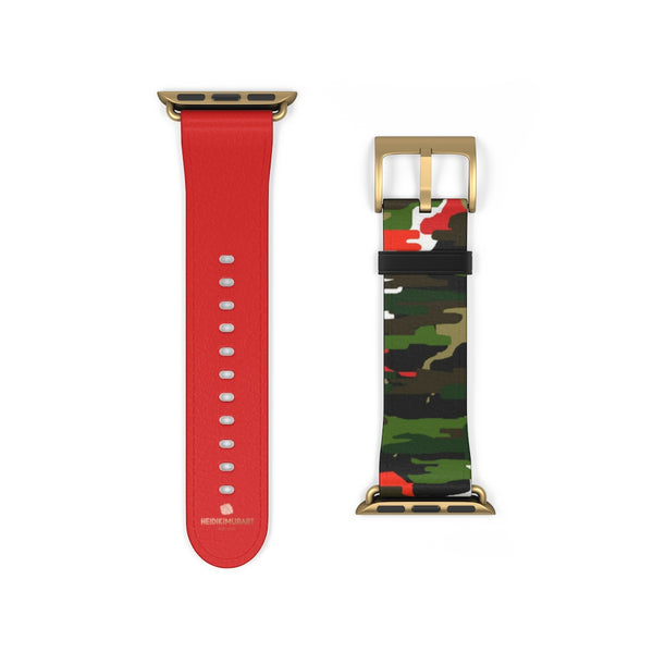 Green & Red Camo Army Print 38mm/42mm Watch Band For Apple Watch- Made in USA-Watch Band-38 mm-Gold Matte-Heidi Kimura Art LLC