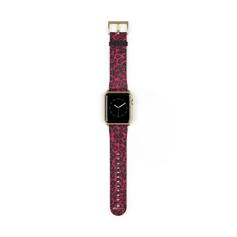 Pink Leopard Animal Print 38mm/42mm Watch Band For Apple Watch- Made in USA-Watch Band-42 mm-Gold Matte-Heidi Kimura Art LLC