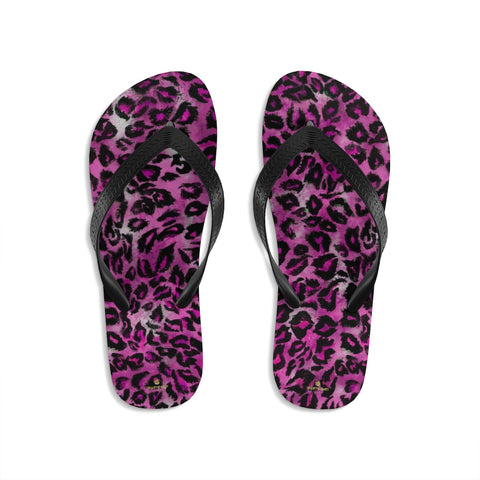 Pink Leopard Animal Print Unisex Flip-Flops Beach Pool Sandals- Made in USA-Flip-Flops-Small-Heidi Kimura Art LLC