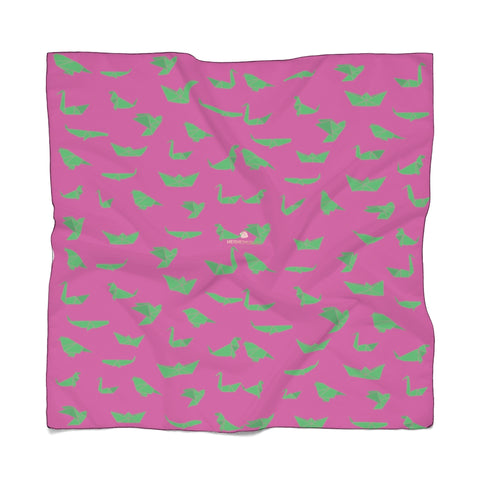 "Hot Pink Japanese Poly Scarf, Cute Fashion Accessories For Men/Women- Made in USA-Accessories-Printify-Poly Voile-25 x 25 in-Heidi Kimura Art LLC Pink Japanese Poly Scarf, Cute Green Crane Birds Print Lightweight Delicate Sheer Poly Voile or Poly Chiffon 25""x25"" or 50""x50"" Luxury Designer Fashion Accessories- Made in USA, Fashion Sheer Soft Light Polyester Square Scarf"