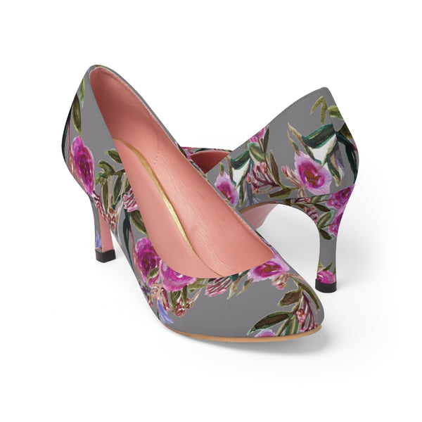Gray Floral Garden Purple Pink Rose Designer Women's High Heels Canvas Shoes-3 inch Heels-Pink-US 7-Heidi Kimura Art LLC Gray Floral Women's Heels, Gray Floral Garden Purple Pink Rose Designer Women's High Heels Canvas Shoes (US Size: 5-11)
