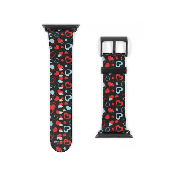 Black Red Hearts Shaped V Day 38mm/42mm Watch Band For Apple Watch- Made in USA-Watch Band-38 mm-Black Matte-Heidi Kimura Art LLC