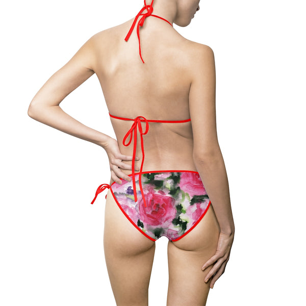 Dancing Red Rose Stylish Deviant Cool Girl Women's Bikini Swimsuit (Size: S-5XL)-Swimwear-Heidi Kimura Art LLC