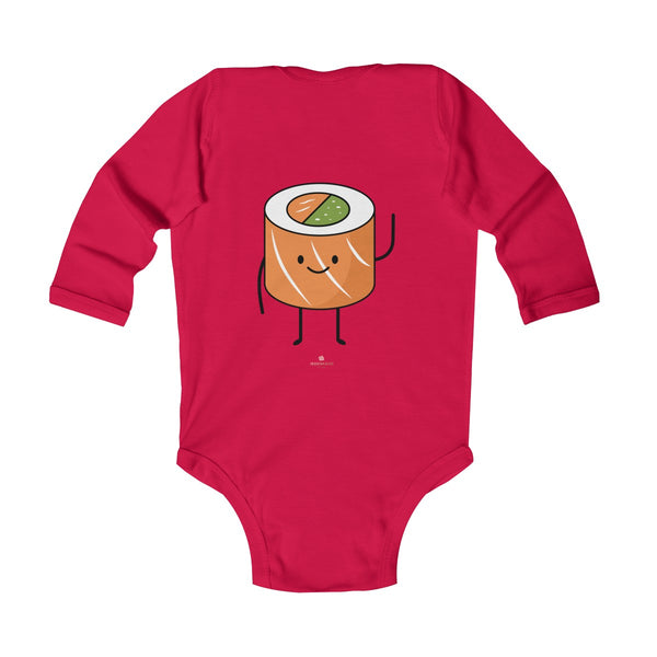Salmon Sushi Lover Baby Boy or Girls Infant Kids Long Sleeve Bodysuit - Made in USA-Infant Long Sleeve Bodysuit-Heidi Kimura Art LLC