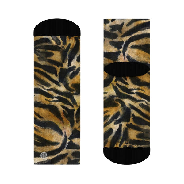 Tiger Stripe Print Unisex Socks, Orange Tiger Animal Print Women's/ Men's Luxury Socks-Socks-Ankle-Heidi Kimura Art LLC