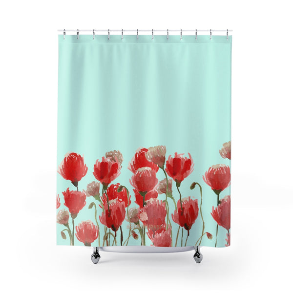 "Light Blue Red Poppy Flower Floral Print Polyester Shower Curtain- Printed in USA-Shower Curtain-71"" x 74""-Heidi Kimura Art LLC Light Blue Red Poppy Shower Curtains, Light Blue and Red Poppy Flower Floral Print Designer Polyester Shower Curtain- Printed in USA, Premium Bathroom Shower Curtains Home Decor Large 100% Polyester 71x74 inches"