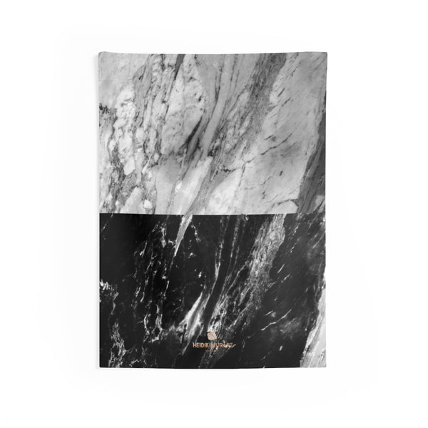 Grey Black Marble Print Designer Indoor Wall Tapestries- Made in USA-Home Decor-26x36-Heidi Kimura Art LLC