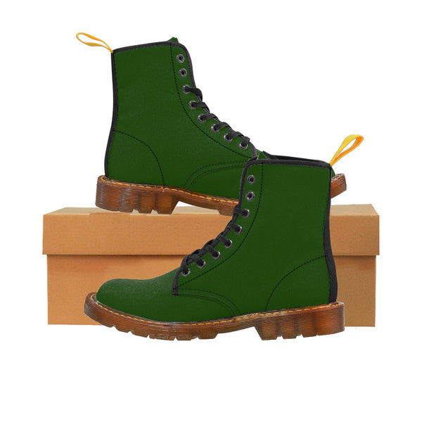 Emerald Green Classic Solid Color Designer Women's Winter Lace-up Toe Cap Boots-Women's Boots-Heidi Kimura Art LLC