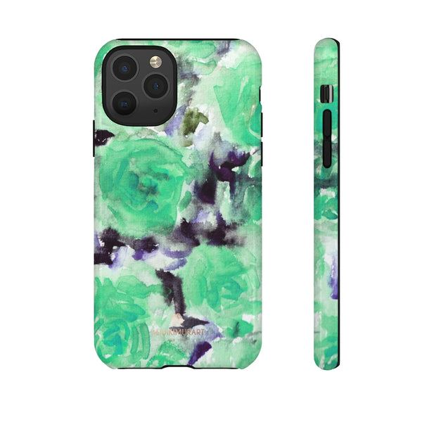 Turquoise Floral Print Tough Cases, Designer Phone Case-Made in USA-Phone Case-Printify-iPhone 11 Pro-Glossy-Heidi Kimura Art LLC