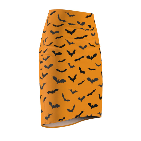 Orange Black Halloween Bats Print Women's Pencil Skirt- Made in USA (Size: XS-2XL)-Pencil Skirt-Heidi Kimura Art LLC