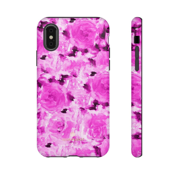 Hot Pink Floral Print Phone Case, Abstract Print Tough Cases, Designer Phone Case-Made in USA-Phone Case-Printify-iPhone X-Glossy-Heidi Kimura Art LLC