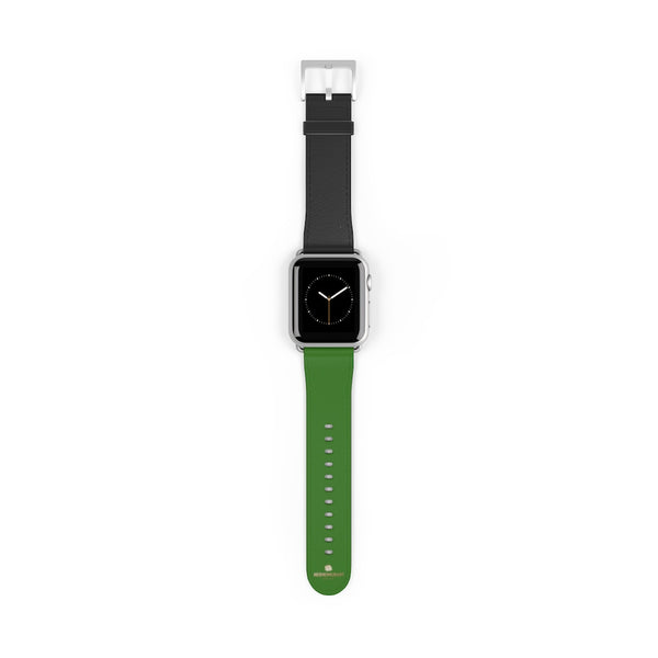 Black Green Duo Apple Band, Solid Color Print Premium Apple Watch Band- Made in USA-Watch Band-Heidi Kimura Art LLC