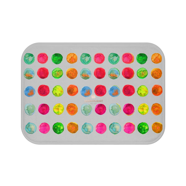 Light Ash Gray Colorful Watercolor Polka Dots Print Microfiber Bath Mat-Made in USA-Bath Mat-Small 24x17-Heidi Kimura Art LLC