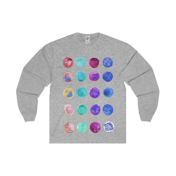 Polka Dots Unisex Designer Premium Long Sleeve Tee - Designed + Made in USA-Long-sleeve-Athletic Heather-S-Heidi Kimura Art LLC