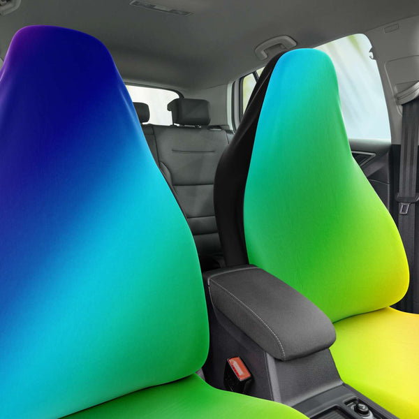 Rainbow Ombre Car Seat Covers, (2 Pack) Gay Pride LGBTQ-Friendly Colorful Rainbow Ombre Car Seat Covers, Gay Pride Rainbow Bestselling Animal Print Essential Premium Quality Best Machine Washable Microfiber Luxury Car Seat Cover - 2 Pack For Your Car Seat Protection, Cart Seat Protectors, Car Seat Accessories, Pair of 2 Front Seat Covers, Custom Seat Covers