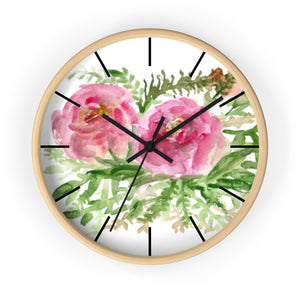 Pink Rose Vintage Style Floral Print Rose Flower 10 inch Diameter Wall Clock-Made in USA-Wall Clock-Wooden-Black-Heidi Kimura Art LLC Pink Rose Floral Clock, Pink Rose Vintage Style Floral Print Rose Flower 10 inch Diameter Wall Clock - Made in USA