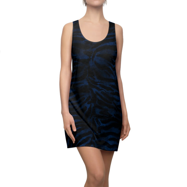 Women's Navy Blue Black Fierce Tiger Stripe Animal Print Sleeveless Dress, Made in USA-Women's Sleeveless Dress-Heidi Kimura Art LLC Navy Blue Tiger Dress, Women's Navy Blue Black Fierce Tiger Stripe Animal Print Sleeveless Above The Knee Racerback Dress, Made in USA (US Size: XS-2XL)