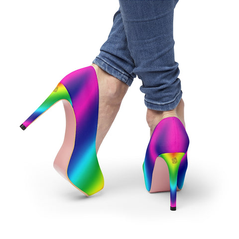 "Rainbow Women's Heels, Gay Pride Parade Colorful Women's Platform Heels Stiletto Pumps 4"" Heels (US Size: 5-11)"