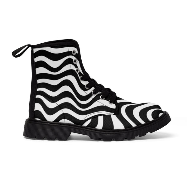 Wavy Striped Women's Canvas Boots, Modern White Black Stripes Print Winter Boots For Ladies-Shoes-Printify-Black-US 9-Heidi Kimura Art LLC