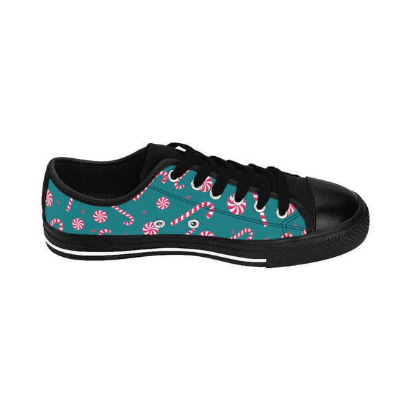 Teal Blue Red White Candy Cane Christmas Print Men's Low Top Sneakers (US Size: 6-14)-Men's Low Top Sneakers-Heidi Kimura Art LLC