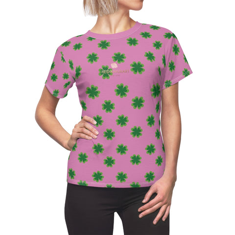 Pink Green Clover Print St. Patrick's Day Women's Premium Crewneck Tee- Made in USA-Women's T-Shirt-L-White Seams-4 oz.-Heidi Kimura Art LLC
