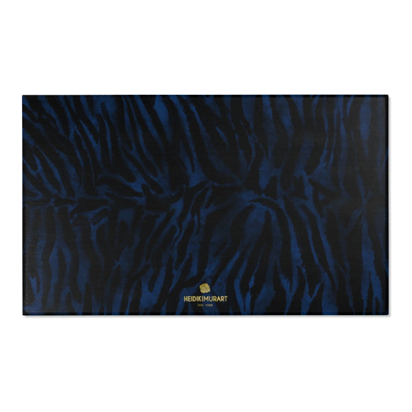 "Navy Blue Black Tiger Stripe Animal Print Designer Indoor Area Rug - Printed in USA-Area Rug-60"" x 36""-Heidi Kimura Art LLC"