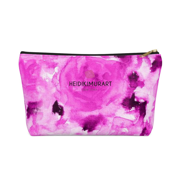 Pink Olympia Sweet Pink Rose Floral Designer Accessory Pouch with T-bottom-Accessory Pouch-Black-Large-Heidi Kimura Art LLC