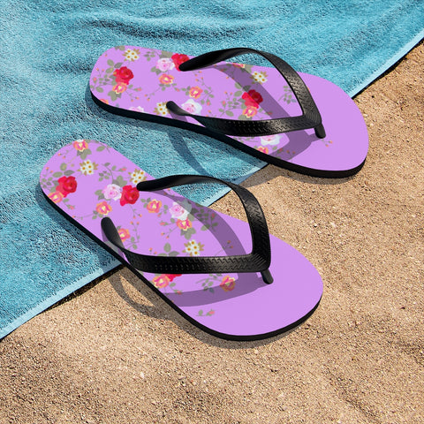 Pink Red Floral Rose Print Unisex Flip-Flops Beach Pool Cute Sandals- Made in USA-Flip-Flops-Small-Heidi Kimura Art LLC