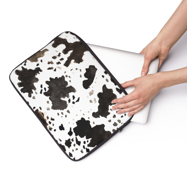 "Milk Cow Animal Print 12"", 13"", 14"" Laptop Sleeve With Top Loading Zipper-Made in USA-Laptop Sleeve-Heidi Kimura Art LLC"
